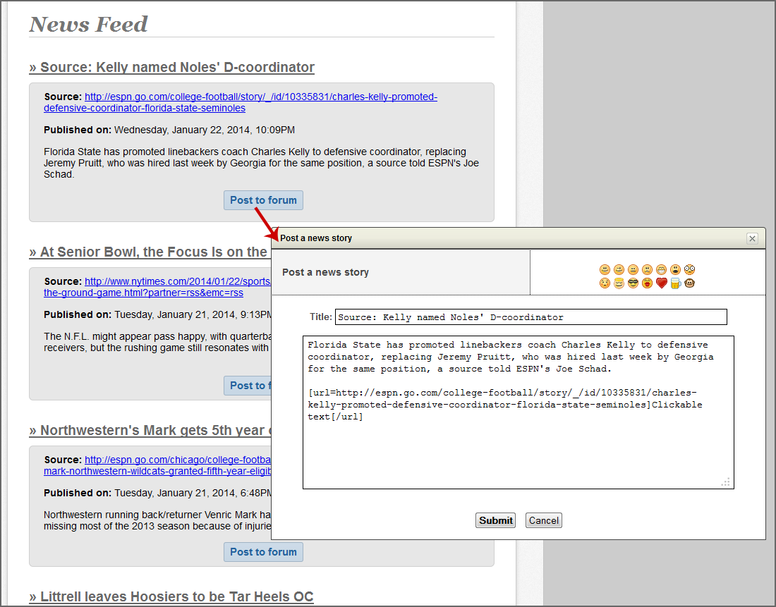 news feed to add content to your forum